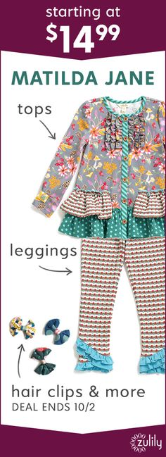 Sign up to shop Matilda Jane Clothing, starting at $14.99. Cheerful prints with whimsical flair make getting dressed a fun affair! Shop tops, leggings, dresses, bows and more for babies, toddlers, and girls. Deal ends 10/2.