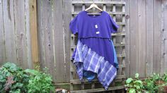 Purple Plaid Plus Size Tunic Shirt Lagenlook Upcycled/ Funky Asymmetrical Eco Blouse/ Hi Lo Womens Tops Size XL by FuriousDesigns on Etsy