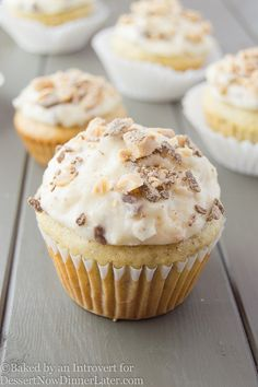These Banana Chocolate Toffee Cupcakes are made with browned butter and loads of banana, all topped with vanilla buttercream that's been speckled with chocolate toffee bits.