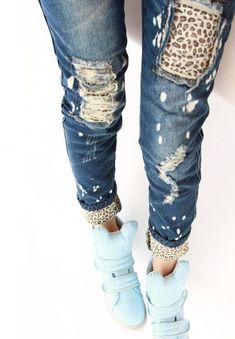 Cheap 2015 nueva primavera diseñador moda mujer Casual flacos Leopard Hole delgados lápiz Jeans pantalones damas pantalones de mezclilla delgada medias, Compro Calidad Jeans directamente de los surtidores de China:          S = 26 m = 27 L = 28 XL = 29 XXL = 30                 Por favor recuerda la carta del tamaño antes de comprar