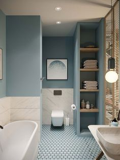 While not many can pull off a small bathroom makeover on a budget, our 11 small bathroom remodel ideas will make sure you redesign yours just the way you planned. Bathroom Design Small, Bathroom Interior Design, Modern Bathroom, Serene Bathroom, Interior Livingroom, Bath Design, Colors For Small Bathroom, Small Bathroom Makeovers, Kitchen Design
