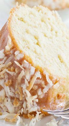 Crazy for Coconut Bundt Cake - scroll down for recipe (Bundt Cake Recipes) Köstliche Desserts, Delicious Desserts, Dessert Recipes, Yummy Food, Coconut Pound Cakes, Pound Cake Recipes, Lemon Cakes, Bunt Cakes, Cupcake Cakes