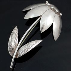 Georg Jensen Sterling Silver/925 Rare Large Flower Pin