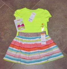 Gymboree Girls Spring Summer Outfit - Size 4 Top, Skirt & Bows - NEW WITH TAGS #GYMBOREE