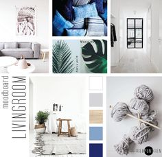 BLOG . moodboard living by VIERPUNTTIEN.  White living, blue accents, natural materials but simple and plain