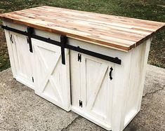 Kitchen Island with Sliding Barn Door