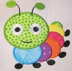 Cute Crawling Bug 04 Machine Applique Embroidery Design - & via Etsy Applique Embroidery Designs, Machine Embroidery Applique, Applique Patterns, Applique Quilts, Machine Quilting, Quilt Patterns, Machine Applique Designs, Etsy Embroidery, Applique Ideas