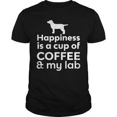 Get yours cool Happiness Is Coffee & Lab T-shirt Shirts & Hoodies.  #gift, #idea, #photo, #image, #hoodie, #shirt, #christmas