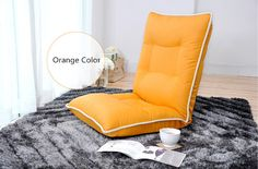 Chair Leather Sofa Orange Color Modern Living Room Leather Accent Comfy  Fashion Leisure Single Relax Floor Lounge Chair Bed