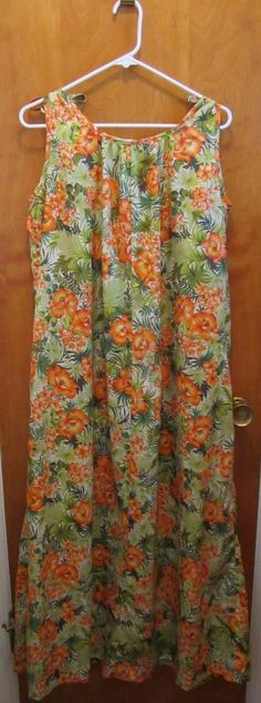 Vintage Hilo Hattie Womens Muu Muu Hawaiian Dress Maxi Full Length Size Medium #HiloHattie #Sheath #Casual