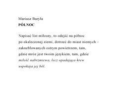 Mariusz Baryła Północ #wiersze #poezja #polska