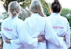 Get ready for your wedding in style with our fashionable and incredibly comfortable Wedding Waffle Bathrobes with Pink Embroidery!  Choose from embroidered messages, such as Bride, Bridesmaid, Mother of the Bride, Maid of Honour and Mother of the Groom.  Messages are embroidered in pink across the back of the robe.  These robes are sized as one-size-fits-all, and make thoughtful and original presents for your bridal party that can be taken anywhere, for example, to a spa day or hotel.