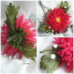 Купить Брошь-заколка цветок хризантема из шелка. Заколка с цветком. Подарок. - коралловый, красный