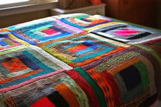 Log Cabin Scrap Blanket by Yarny Old Kim, via Flickr