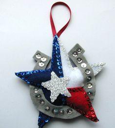Christmas ornament  Felt Texas theme star w/ by cuttingupintexas