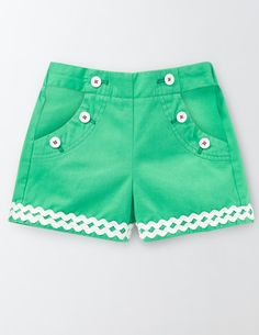 Bright Adventure Shorts - Boden Kids - Has elastic in back--not zippers Baby Boy Dress, Baby Girl Dress Patterns, Baby Girl Pants, Little Girl Dresses, Kids Dress Wear, Kids Wear, Cute Girl Outfits, Kids Outfits, Moda Junior