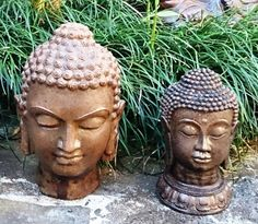 Cast Stone Buddha Head Statues - Brown Slate Finish.