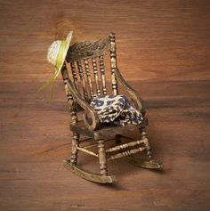 Miniature Wooden Rocking Chair for Your Dollhouse by DinkyWorld