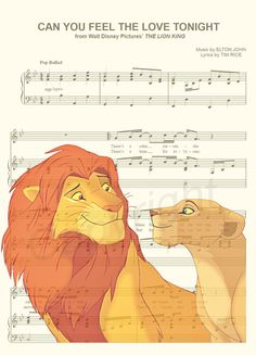 Der König der Löwen Simba und Nala Noten Kunstdruck