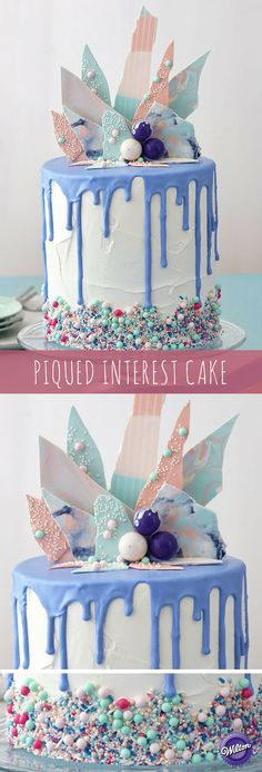 Topped with artistic candy shards and embellished with a variety of sprinkles, this Piqued Interest Cake is sure to have everyone talking! Cake for boy Fancy Cakes, Cute Cakes, Pretty Cakes, Beautiful Cakes, Amazing Cakes, Torta Candy, Drippy Cakes, Bolo Cake, Birthday Desserts