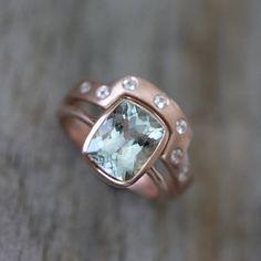 Aquamarine and 14k Rose Gold Engagement RIng and Wedding Band Wedding Set, Made To Order.  via Etsy.