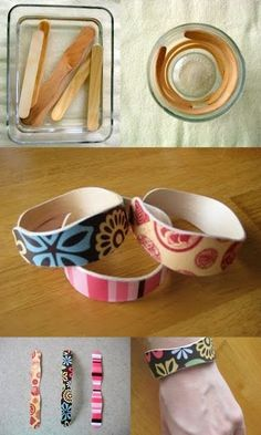 Popsicle Stick Bracelets...looks like a good summer project for me and the munchkin.