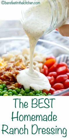 The BEST Homemade Ranch Salad Dressing Recipe ranchdressing ranch saladdressing salad 416864509253179645 Ranch Salad Dressing, Salad Dressing Recipes, Salad Dressings, Salad Dressing Healthy, Best Ranch Dressing, Salad Recipes, Ranch Salad Recipe, Ranch Dressing Powder Recipe, Pickling