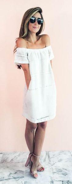 #summer #fashion / white off-the-shoulder dress