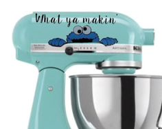 Are You Making Cookies? Cookie Monster Kitchen Aid Mixer Decal  Our decals are cut from the highest quality vinyl that. These make great gifts for friends, family, or for yourself! The size of this decal is 7.5 x 3.15 Shipping: Your needs are important to us and we want to get your product to you as quickly as possible. With that being said, everything is handmade to order. Your decal will be shipped through USPS in 8-10 business days, excluding holidays. Please take this into consideration…