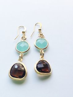 Teal and Smoky Quartz  Earrings by AngelaWilbernJewelry on Etsy, $20.00