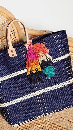 Shopping bag of bohemian beach beach bag pom pom pompom for child range