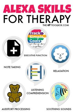 Alexa skills for therapy. The Alexa can be a helpful tool during therapy sessions. Check out these skills that can be used to teach safety, sensory and executive functioning skills either at home or in a therapy session! Alexa Dot, Alexa Echo, Echo Echo, Amazon Dot, Amazon Echo, Alexa Tricks, Alexa Commands, Amazon Alexa Skills, Meditation Timer