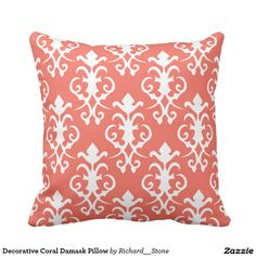 Shop Decorative Coral Damask Pillow created by Richard__Stone. Coral Throw Pillows, Custom Pillows, Damask, Your Design, Curtains, Fabric, Color, Tejido, Blinds