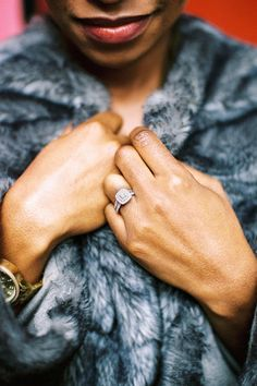 Brick Lane Fashionable London Wedding Engagement Session Featuring Black Bride in Stunning Green Jumpsuit and Fur Coat // Photo by Becky Bailey Photography