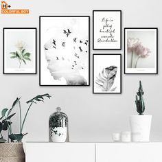 room decor Art pictures - Girl bird Flower Feather Quotes Landscape Wall Art Canvas Painting Nordic Posters And Prints Wall Pictures For Living Room Decor