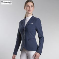 Samshield Victorine Show Jacket in Light Navy - £360. The Samshield Victorine Competition Jacket is designed to provide comfort and technical performance for riders.