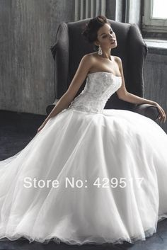 Fashionable  White debutante gowns  Sweetheart  Tube top  Sexy  Ball gown  Royal  Train  Wedding dresses $168.00
