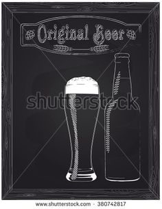 full glass with foam and beer bottle drawn in chalk