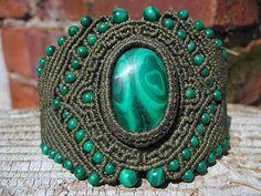 Ian Lander Jewelery : Macrame : Bracelets : Malachite