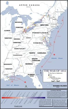 (Picture = Map of US in The War of 1812 started because the British were interfering with trade on the open sea, they caused Indian attacks on the Frontier, and were killing Americans in American waters. Canadian History, American History, Teaching Us History, History Education, World History, Family History, War Of 1812, Mystery Of History, Historical Maps