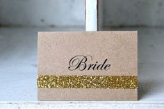 The place cards wouldn't have to be exactly this but the gold detail is nice. Name Place Cards Wedding, Wedding Name Tags, Wedding Places, Wedding Cards, Wedding Stuff, Wedding Ideas, Name Tag Design, Wedding Stationery, Wedding