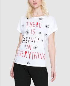 Camiseta de mujer Desigual blanca con mensaje