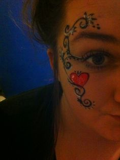 #valentines #face #paint #simple #heart #red