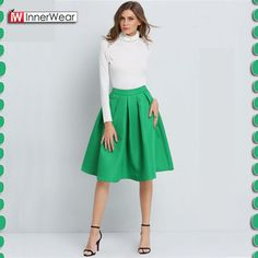 Women's Solid Casual Flare High Waist Pleated Pockets Vintage Midi Skirt................. Price : $34.62