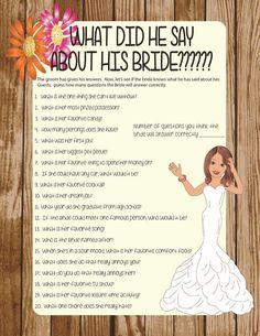 What did he say about his Bride Bridal Shower Games, Floral Engagement Party Game, Rustic Wedding Shower Games, – Lingerie Shower Rustic Wedding Showers, Wedding Shower Games, Wedding Games, Bridal Shower Favors, Bridal Showers, Wedding Planning, Wedding Ideas, Couple Shower Games, Rustic Shower