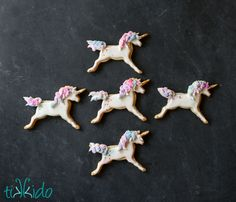 Tutorial for unicorn sugar cookies, done in a painted, watercolor style.