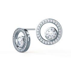 Floating Karma Studs by Ada Diamonds. Lab grown diamond open circle halo studs with a floating bezel set round brilliant diamond center stone in 18k white gold.