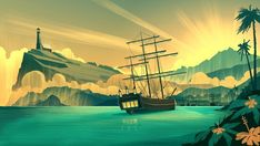 Harbor Sunrise - A gallery-quality illustration art print by Brian Miller for sale.