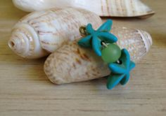 Starfish Ring, Turquoise Starfish with Green Sea Glass Look Bead, Beach Jewelry, Made to Order Ring, Wrapped Ring