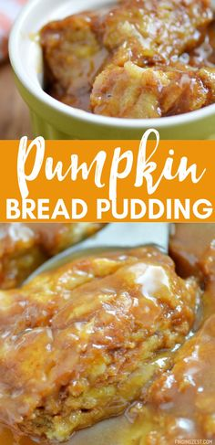 Bread pudding made even better with pumpkin and a brown sugar sauce. Guests won'… Bread pudding made even better with pumpkin and a brown sugar sauce. Guests won't be able to resist this amazing fall dessert, perfect for Thanksgiving or any time! Pudding Desserts, Mini Desserts, Pudding Recipes, Dessert Recipes, Christmas Desserts, Christmas Baking, Recipes Dinner, Delicious Desserts, Dessert Party